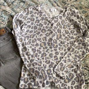 Gap Animal Leopard Cheetah Print Gray Cardigan